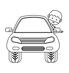 Cartoon man and car icon vector