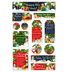 christmas tag new year holidays celebration card vector image
