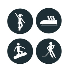collection winter sport icons vector image