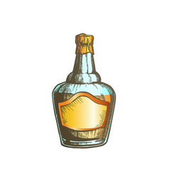 Color blown scotch whisky bottle with foil cap vector