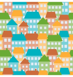 colored houses in town seamless pattern vector image
