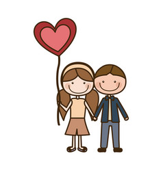Colorful caricature of boy short hair and girl vector