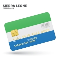 Credit card with Sierra Leone flag background for vector