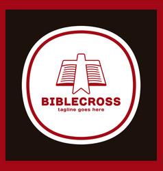 cross bookmark icon bible book logotype simple vector image