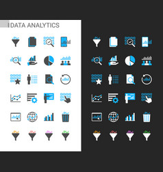 data analytic icons light and dark theme vector image