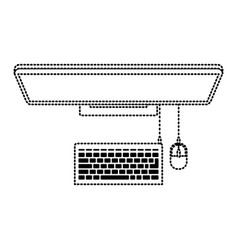 desktop computer on top view in black dotted vector image