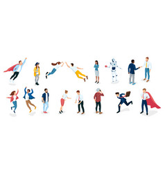 diverse business people emotions and different vector image