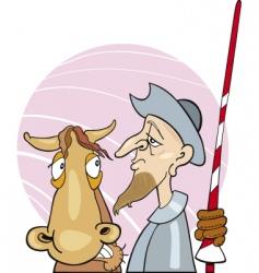 Don quixote and his horse vector