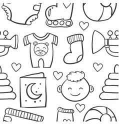 Doodle of baby object set design vector