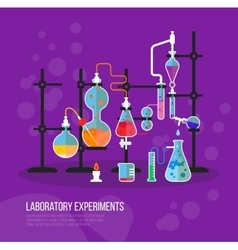 Experiment chemistry glassware flask with tubes vector image