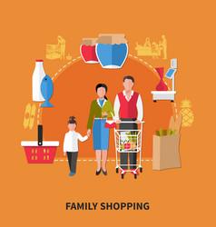 Family shopping composition vector