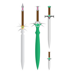 Flat design medieval swords set vector