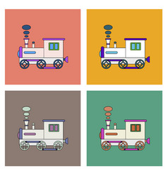 Flat icon design collection kids train vector