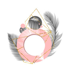Fluffy feathers abstract circle frame background vector
