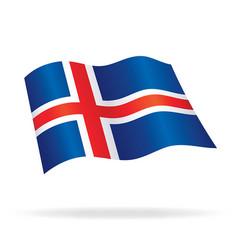 Flying icelandic flag of iceland silk vector