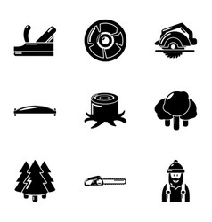 Forest product icons set simple style vector