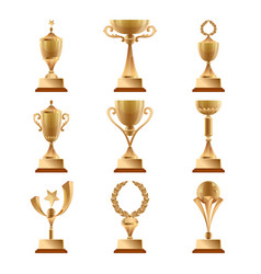 golden trophy collections sports award vector image