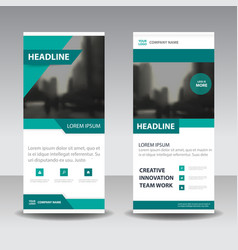 Green clean business roll up banner flat design vector