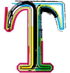 Grunge colorful font Letter T vector