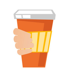 hand holding a disposable coffee cup with cover vector image