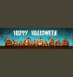 happy halloween banner different pumpkins vector image