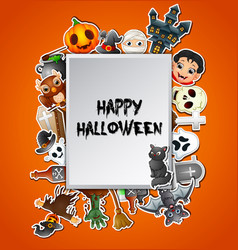 Happy halloween square card celebrations vector