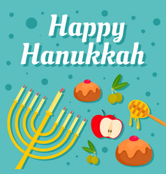 happy hanukkah holiday concept background flat vector image