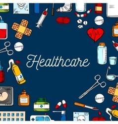 Healthcare sketched background vector