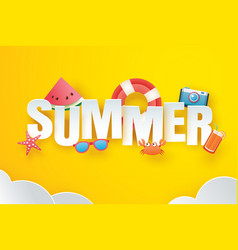 hello summer with decoration origami on sky vector image