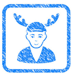 Horned boyfriend framed stamp vector