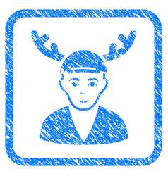 Horned boyfriend framed stamp vector