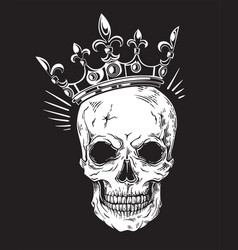 human skull with crown for tattoo design vector image