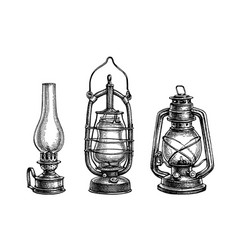 ink sketches kerosene lamps vector image