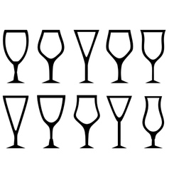 Isolated white alcohol glasses set vector