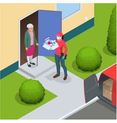 Isometric delivery woman or courier vector