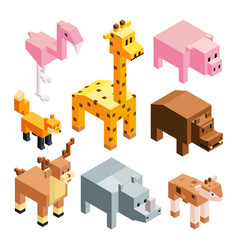isometric stylized 3d animals vector image