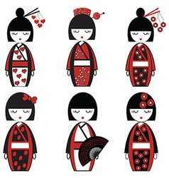 Japanese dolld set in black and red vector
