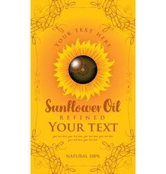 Label for sunflower oil vector