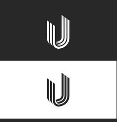 letter u logo isometric shape creative symbol uuu vector image