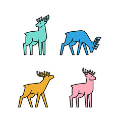 linear set colored deers icons vector image