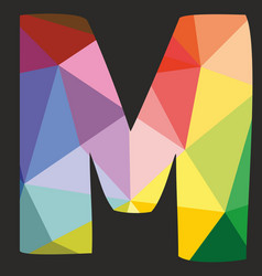M low poly colorful alphabet letter isolated vector