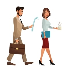 man and woman walking office work documents folder vector image