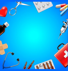 medical objects on blue background top view vector image
