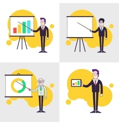 Modern businessmen set Flipchart with colored bar vector image