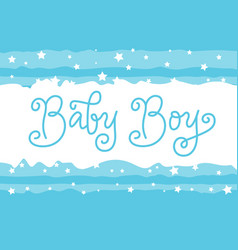 Modern calligraphy lettering of baby boy in blue vector