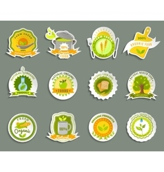 Natural organic food brands stickers set vector