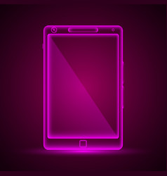 neon tablet emblem vector image