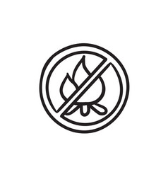 No fire sign sketch icon vector