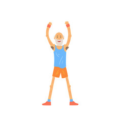 Old man raising his hands up bearded elderly vector