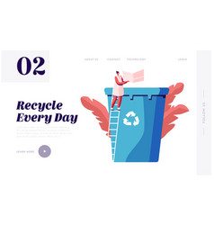 Paper waste reuse solution website landing page vector